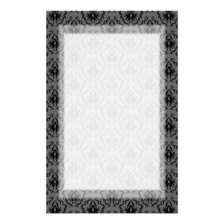 Stylish elegant pattern. Black and Gray Damask. Stationery