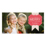 Stylish Embellishment Christmas Photo Card Custom Photo Card
