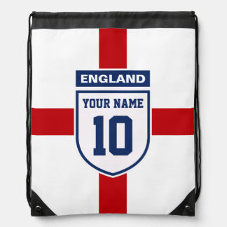 Stylish England Team Badge with your Name & Number Drawstring Bags