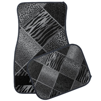 Stylish Exotic Animal Patterns | Gray & Black Floor Mat