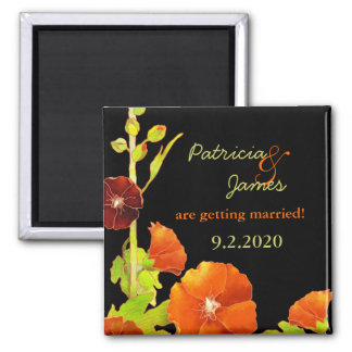 Stylish Fall Hollyhocks Wedding Save the Date Square Magnet