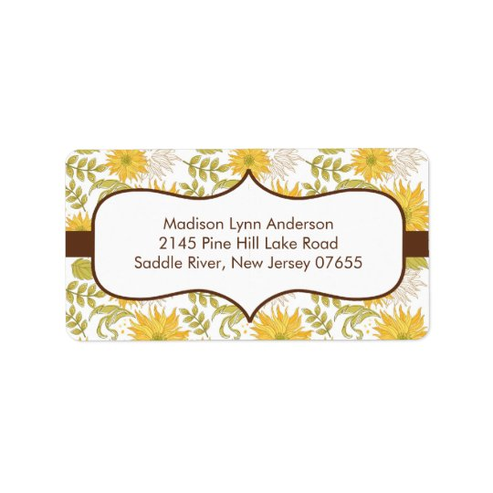 Stylish Fall Sunflowers Return Address Labels. Address Label