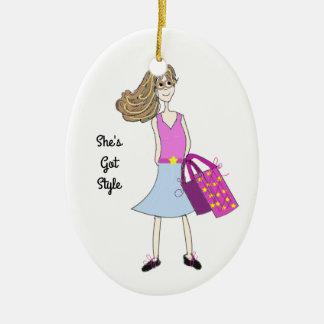 Stylish Fashion Girl Ceramic Oval Decoration