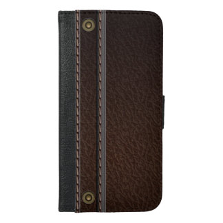 Stylish Faux Brown Leather Look iPhone 6/6s Plus Wallet Case