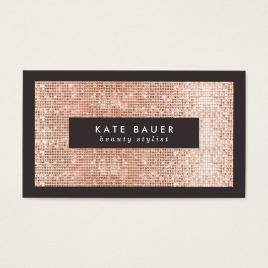 Stylish Faux Copper Sequin Beauty and Fashion Business
