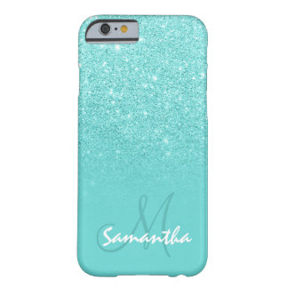 Stylish faux glitter ombre teal block personalized barely there iPhone 6 case