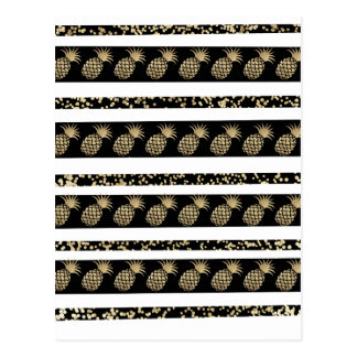 Stylish faux gold black confetti pineapple stripes postcard