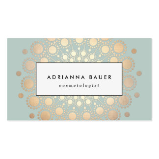 Stylish Faux Gold Foil Circle Motif Sage Blue Pack Of Standard Business Cards