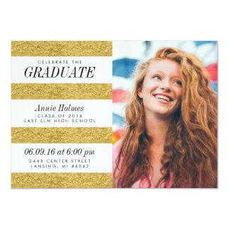 Stylish Faux Gold Foil Stripes Graduation Party 13 Cm X 18 Cm Invitation Card