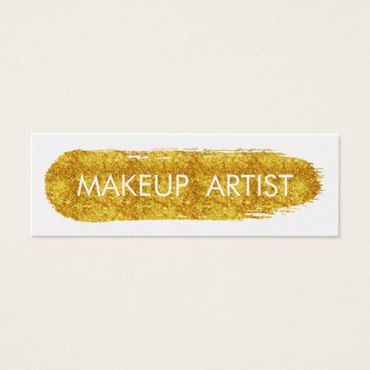 Stylish Faux Gold Glitter Makeup Artist Mini Business Card