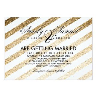 Stylish Faux Gold Glitter Wedding Invitation