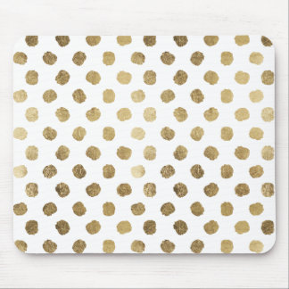 Stylish  faux gold leaf polka dots brushstrokes mouse pad