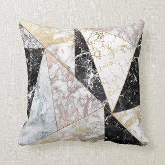 Stylish faux rose gold black white luxury marble cushion