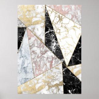 Stylish faux rose gold black white luxury marble poster