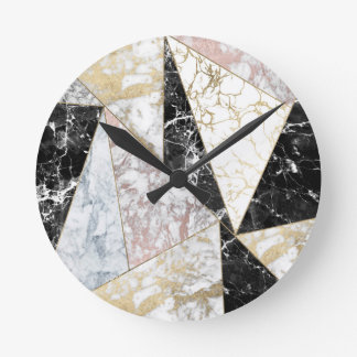 Stylish faux rose gold black white luxury marble round clock
