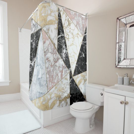 Stylish Faux Rose Gold Black White Luxury Marble Shower Curtain