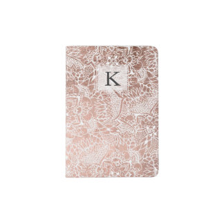 Stylish faux rose gold floral mandala illustration passport holder