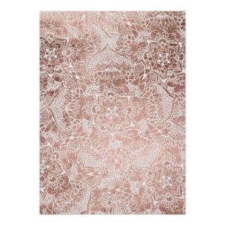 Stylish faux rose gold floral mandala illustration poster