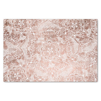 Stylish faux rose gold floral mandala illustration tissue paper
