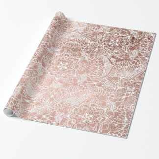 Stylish faux rose gold floral mandala illustration wrapping paper
