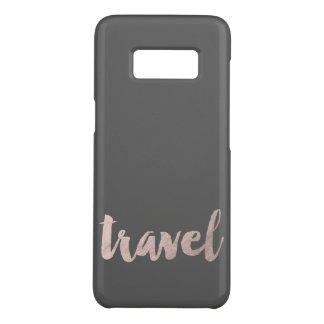 "stylish faux rose gold foil text ""travel"" Case-Mate samsung galaxy s8 case"