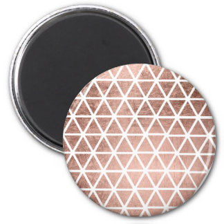 Stylish faux rose gold foil triangles pattern 6 cm round magnet