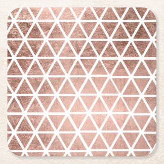 Stylish faux rose gold foil triangles pattern square paper coaster