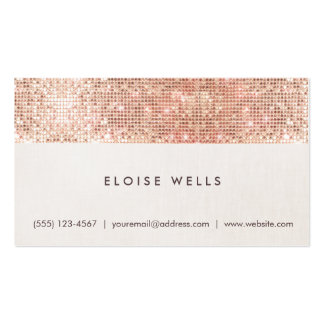 Stylish Faux Rose Gold Sequins Linen Fun Trendy Pack Of Standard Business Cards