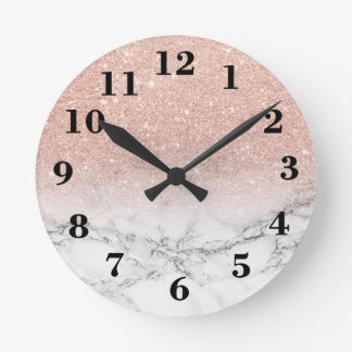 Stylish faux rose pink glitter ombre white marble clocks