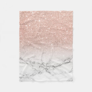 Stylish faux rose pink glitter ombre white marble fleece blanket