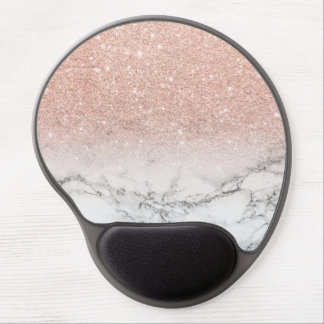 Stylish faux rose pink glitter ombre white marble gel mouse pad