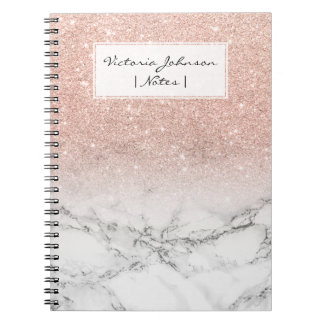 Stylish faux rose pink glitter ombre white marble notebooks