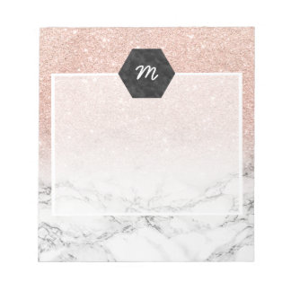 Stylish faux rose pink glitter ombre white marble notepad