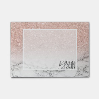 Stylish faux rose pink glitter ombre white marble post-it notes