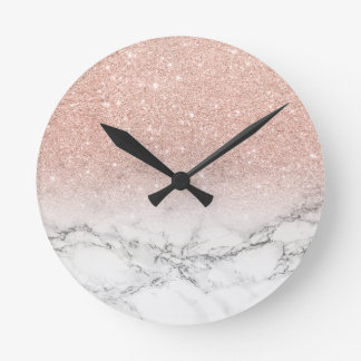 Stylish faux rose pink glitter ombre white marble round clock