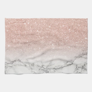 Stylish faux rose pink glitter ombre white marble tea towel