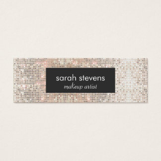 Stylish Faux Silver Sequins Beauty Fashion Retro Mini Business Card