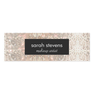 Stylish Faux Silver Sequins Beauty Fashion Retro Pack Of Skinny Business Cards