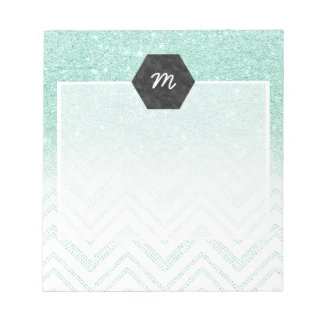 Stylish faux teal glitter ombre modern chevron notepad