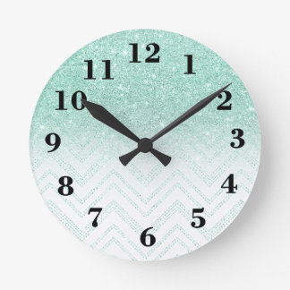 Stylish faux teal glitter ombre modern chevron wall clock
