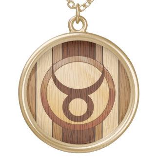 Stylish Faux Wood Taurus Zodiac Symbol Gold Plated Necklace