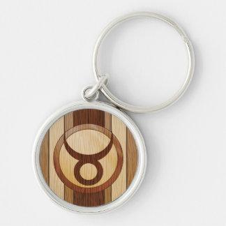 Stylish Faux Wood Taurus Zodiac Symbol Key Ring