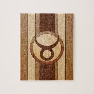 Stylish Faux Wood Taurus Zodiac Symbol Puzzle