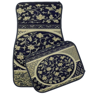 Stylish Floral Black and Beige Set of 4 Car Mats