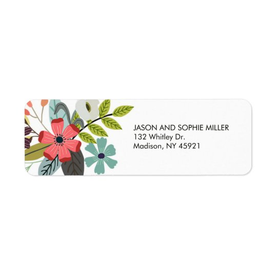 Stylish Floral Bouquet Return Address