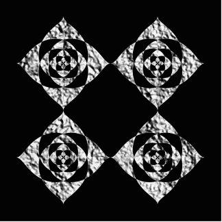 Stylish Floral Design. Gray, Black, White. Photo Sculpture Badge