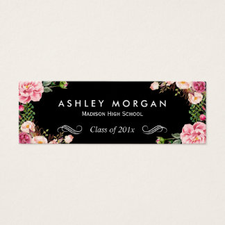 Stylish Floral Flowers Graduation Name Card