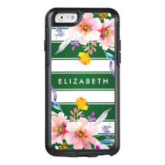 Stylish Floral Green Stripe Otterbox iPhone 6 Case