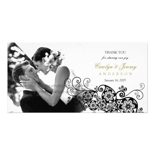 Stylish Floral Paisley Boho Chic Wedding Thank You Photo Card Template