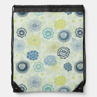 Stylish floral pattern with cute flowers drawstring bag
